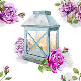 Retro vintage lamp with rose Stock Photography