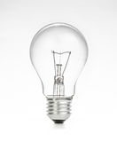 Retro vintage light bulb with on white background Royalty Free Stock Image