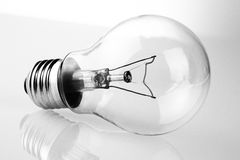 Retro vintage light bulb with on white background Royalty Free Stock Images