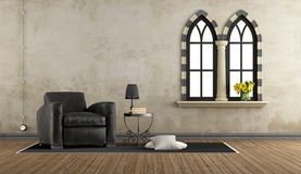 Retro vintage living room with leather armchair Stock Photography