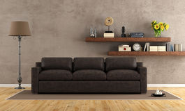 Retro vintage living room with leather sofa Royalty Free Stock Images
