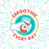 Retro vintage logo for smoothie shop.  Logo with smoothie jar and hand. Royalty Free Stock Photo