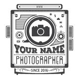 Retro vintage logotype of old camera for photographers. Stock Images