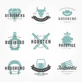 Retro Vintage Logotypes or insignias Hand drawn. Style set. Vector design elements, business signs, logos, identity, labels, badges, apparel, shirts, ribbons Royalty Free Stock Photo