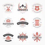 Retro Vintage Logotypes or insignias Hand drawn Royalty Free Stock Photo