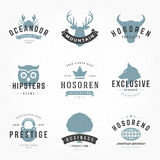 Retro Vintage Logotypes or insignias Hand drawn Stock Photos