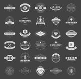 Retro Vintage Logotypes or insignias set. Vector design elements, business signs, logos, identity, labels, badges, ribbons, stickers and other branding objects Stock Photos
