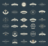 Retro Vintage Logotypes or insignias set. Vector design elements, business signs, logos, identity, labels, badges, ribbons, stickers and other branding objects Stock Photography
