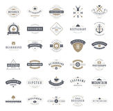 Retro Vintage Logotypes or insignias set. Vector. Design elements, business signs, logos, identity, labels, badges, ribbons, stickers and other branding objects Royalty Free Stock Photo