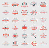 Retro Vintage Logotypes or insignias set vector. Retro Vintage Logotypes or insignias set. Vector design elements, business signs, logos, identity, labels Royalty Free Stock Photography