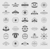 Retro Vintage Logotypes or insignias set. Vector design elements, business signs, logos, identity, labels, badges, ribbons, stickers and other branding objects Royalty Free Stock Images