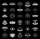 Retro Vintage Logotypes or insignias set. Vector design elements, business signs, logos, identity, labels, badges, ribbons, stickers and other branding objects Royalty Free Stock Photos
