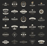 Retro Vintage Logotypes or insignias set. Vector design elements, business signs, logos, identity, labels, badges, shirts, ribbons and other branding objects Stock Photography