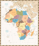 Retro vintage map of Africa Royalty Free Stock Photography