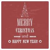 Retro Vintage Merry Christmas Background with Grun Royalty Free Stock Photos