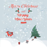 Retro Vintage Merry Christmas Greeting Card with bullfinch Typography. Retro Vintage Merry Christmas Greeting Card with Typography Royalty Free Stock Image