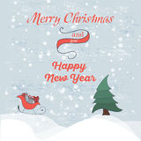 Retro Vintage Merry Christmas Greeting Card with by hand drawn sledges, christmas tree and gifts Royalty Free Stock Image