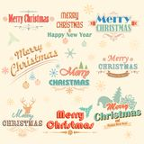 Retro Vintage Merry Christmas Labels Royalty Free Stock Photo