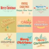 Retro Vintage Merry Christmas labels Royalty Free Stock Photography
