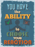 Retro Vintage Motivational Quote Poster. Vector illustration Stock Photography