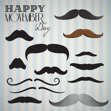 Retro / Vintage mustache set for happy movember day Stock Image