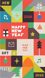 Retro Vintage New Year Poster Royalty Free Stock Image