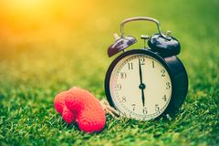 Vintage old clock on the green grass with heart love times memory concept royalty free stock photos