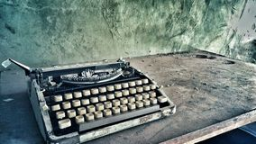 Retro vintage old dusty typewriter photo stock image