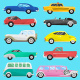 Retro vintage old style car vehicle automobile exclusive speed sport transport antique garage classic auto vector Royalty Free Stock Photo