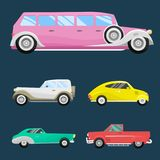 Retro vintage old style car vehicle automobile exclusive speed sport transport antique garage classic auto vector Stock Photography