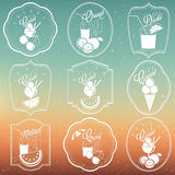 Retro vintage ornament collection for Ice Cream and Soft drinks Royalty Free Stock Photography