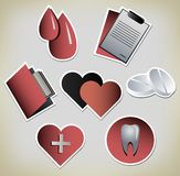 Retro vintage paper Medical icons Royalty Free Stock Images