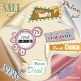 Retro and vintage paper sale elements Royalty Free Stock Photos