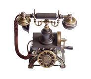 Retro vintage phone isolated. Decorated retro vintage metal telephone isolated on white background Royalty Free Stock Images