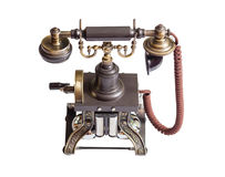 Retro vintage phone isolated. Decorated retro vintage metal telephone isolated on white background Stock Photography