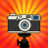 Retro vintage photo camera. Flat photo camera icon Royalty Free Stock Photos