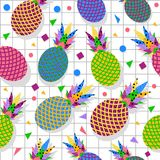 Retro vintage pineapple fruit 80s pattern backdrop. Retro vintage 80s memphis pineapple fruit seamless pattern background. Ideal for fabric design, paper print Royalty Free Stock Photos