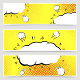 Retro vintage pop-art style yellow header set Royalty Free Stock Image