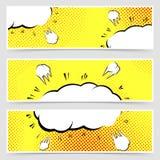 Retro vintage pop-art style yellow header set Royalty Free Stock Image