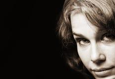 Retro vintage portrait of classical woman stock images