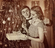 Retro vintage portrait of couple Christmas party. Black and white . Royalty Free Stock Photos