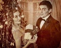 Retro vintage portrait of couple Christmas party. Black and white . Royalty Free Stock Photo