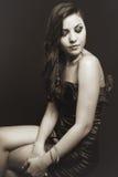 Retro vintage portrait of elegant woman stock photos