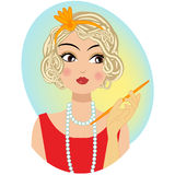 A retro vintage portrait of a woman. Holding a cigarette wearing a red lipstick and red dress Royalty Free Stock Photography