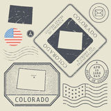 Retro vintage postage stamps set Colorado, United States Royalty Free Stock Photography