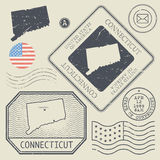 Retro vintage postage stamps set Connecticut, United States Stock Images
