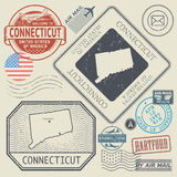 Retro vintage postage stamps set Connecticut, United States Stock Photography
