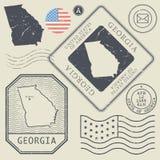 Retro vintage postage stamps set Georgia, United States Royalty Free Stock Photography