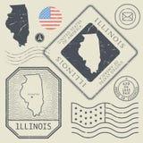 Retro vintage postage stamps set Illinois, United States Stock Images