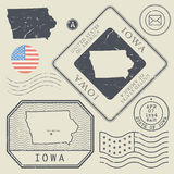 Retro vintage postage stamps set Iowa, United States Stock Photos